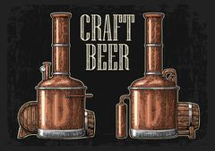 Row of tanks and wooden barrel in brewery beer. I Stock Illustration
