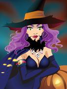 Poster. Sexy Halloween witch Stock Illustration
