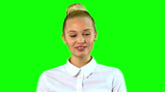 Smiling Young Blonde Woman Portret with green screen Stock Footage