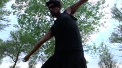 A blindfolded dancer (slowmotion) Stock Footage