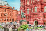 The State Historical Museum and Marshal Zhukov statue, Moscow, Russia Stock Photos