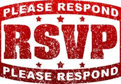 RSVP Please respond grunge style rubber stamp. Stock Illustration