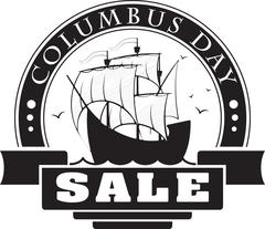 Columbus day sale decorative label, card or sticker with sail ship for your d Stock Illustration