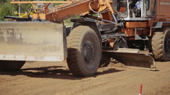 Grader Road Construction Grader industrial machine on construction of roads Stock Footage