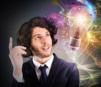 Businessman thinks of a new creative idea Stock Photos