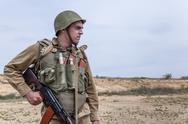 Soviet paratrooper in Afghanistan Stock Photos