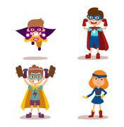 Superhero kids boys and girls cartoon vector illustrationt Stock Illustration