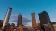 4K Atlanta, Georgia timelapse pan shot of downtown Atlanta during sunset Stock Footage