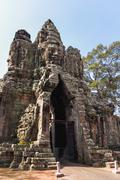 South Gate of Angkor Thom from outside the city. Angkor Wat. Siem Reap, Cambo Stock Photos