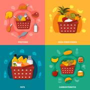 Healthy Food Supermarket Basket Composition Stock Illustration