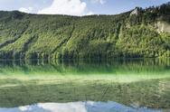Mountain lake Vorderer Langbathsee in Salzkammergut, Upper Austria Stock Photos