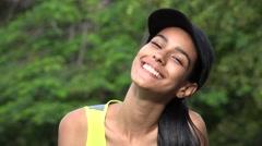 Cute Smiling Happy Teen Girl Wearing Baseball Cap Stock Footage