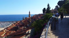 Panoramic View of Menton on the french Riviera Stock Footage