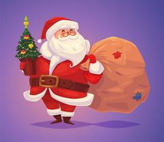 Funny santa. Christmas greeting card background poster. Vector illustration Stock Illustration