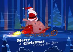 Funny santa. Christmas greeting card background poster. Vector illustration Piirros