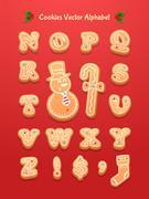 Christmas gingerbread cookies alphabet Stock Illustration
