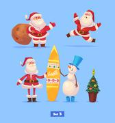 Funny santa set . Christmas greeting card background poster. Vector illustration Stock Illustration