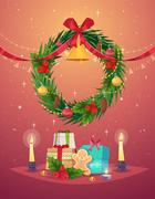 Vector Christmas Wreath with Gifts Stock Illustration