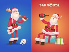 Set of the bad Santa. Christmas greeting card background poster. Vector Stock Illustration