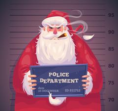 Bad Santa in police. Christmas greeting card background poster. Vector Stock Illustration