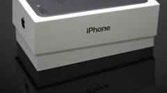 Apple Iphone 7 plus black box smartphone box zoom in zooming smart phone mobile Stock Footage