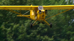 Piper J-3 Cub Woman Take Off ECU Stock Footage