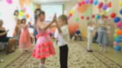 Kids dancing at the auditorium of the kindergarten Stock Footage