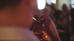 Close up hands of the man playing the trumpet Stock Footage