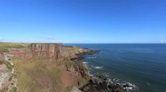 Coastline south of Lunan Bay Angus Scotland Stock Footage
