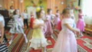 Kids dancing, singing songs at a kindergarten Stock Footage