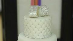 Closeup of white wedding cake Stock Footage