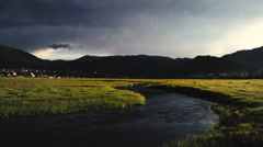 Net flows the river in a small valley among the mountains of the field. Stock Footage