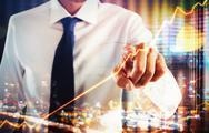 Virtual screen business system Stock Photos