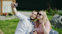 Romantic selfie with wine Stock Footage
