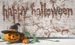 Happy Halloween greeting with Jack O Lantern pumpkin and green leafs on woode Stock Illustration