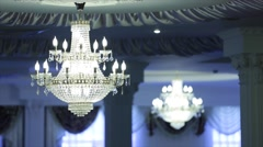 Beautiful vintage crystal chandelier in a room Stock Footage