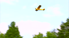Piper J-3 Cub Fly By WS Stock Footage