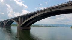 Bridge through Yenisei a general view Stock Footage