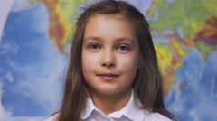 Cute Smiling Little Kid Girl in White Shirt in School Stock Footage