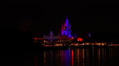 ORLANDO, FL/USA - OCTOBER 1, 2016. Night view of Cinderella's Castle Stock Footage