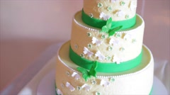 Wedding Cake with green butterflies Stock Footage