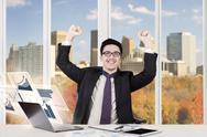 Arabian businessman and virtual graph Stock Photos