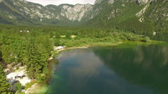 View from above of beautiful Bohinj Lake, Slovenia Stock Footage