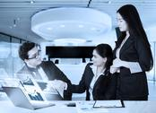 Businesspeople shaking hands with virtual chart Stock Photos