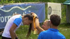 TUNGUR, RUSSIA - 07.2016: award ceremony of ALTAY ULTRA TRAIL. Stock Footage