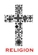 Cross with christian and celt religious symbols Stock Illustration