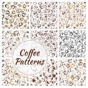 Natural coffee drinks seamless pattern set Stock Illustration