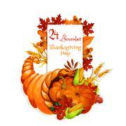 Thanksgiving Day greeting cornucopia design Stock Illustration