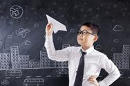 Student playing paper plane in class Stock Photos