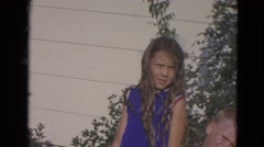 1963: family posing outdoor for a picture  Stock Footage